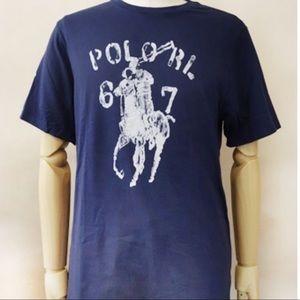 Polo Ralph Lauren Horse Logo Blue Tee / T-Shirt XL